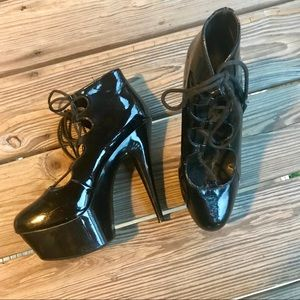 Lace Up Sky High Heels Sz 9